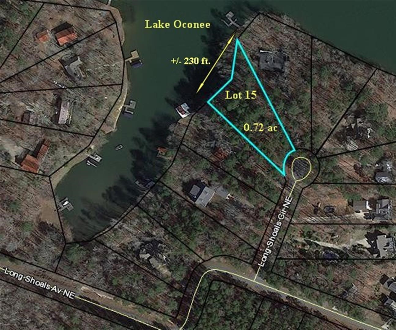 REDUCED PRICE! Great lot in super community - very nice homes around lot. Good water, big cove ideal for boating and swimming. No dock now but should be approved for max dock with 200+ feet of shoreline -  need to check with Georgia Power. Small utility building located on the lot.