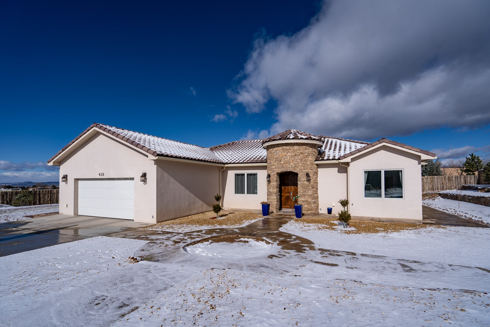 LOOKING FOR A DIAMOND?? Look no further!! This centrally located gem in the Brunn School Road Subdivision is a certified Gold, by Build Green NM, home built in 2017 and is move-in ready!!! This 3 bed, 2.5 bath home features an open floor plan with premium upgrades. Custom cabinets, quartz countertops, stainless steel appliances, stacked marble backsplash, a walk-in pantry and an island that seats 4 furnishes the kitchen. Master bath suite includes his and hers sinks separated by a custom soak tub and walk-in marble shower. Guest bedrooms are attached by a Jack and Jill bath suite finished with marble and quartz. Porcelain tile flooring covers the interior of the home. Well maintained stucco exterior and pitched Spanish Tile roof. Heating and cooling sources include in-floor radiant heat as well as heated forced air and refrigerated central air conditioning. Additional features include oversized 2 car garage with finished floor, Xeriscaped lot with cherry, peach, apple, pear, and pine trees. Trees are watered through a drip system fed by a 1000 gallon cistern. SCHEDULE YOUR SHOWING ASAP! THIS HOME WONT LAST LONG!