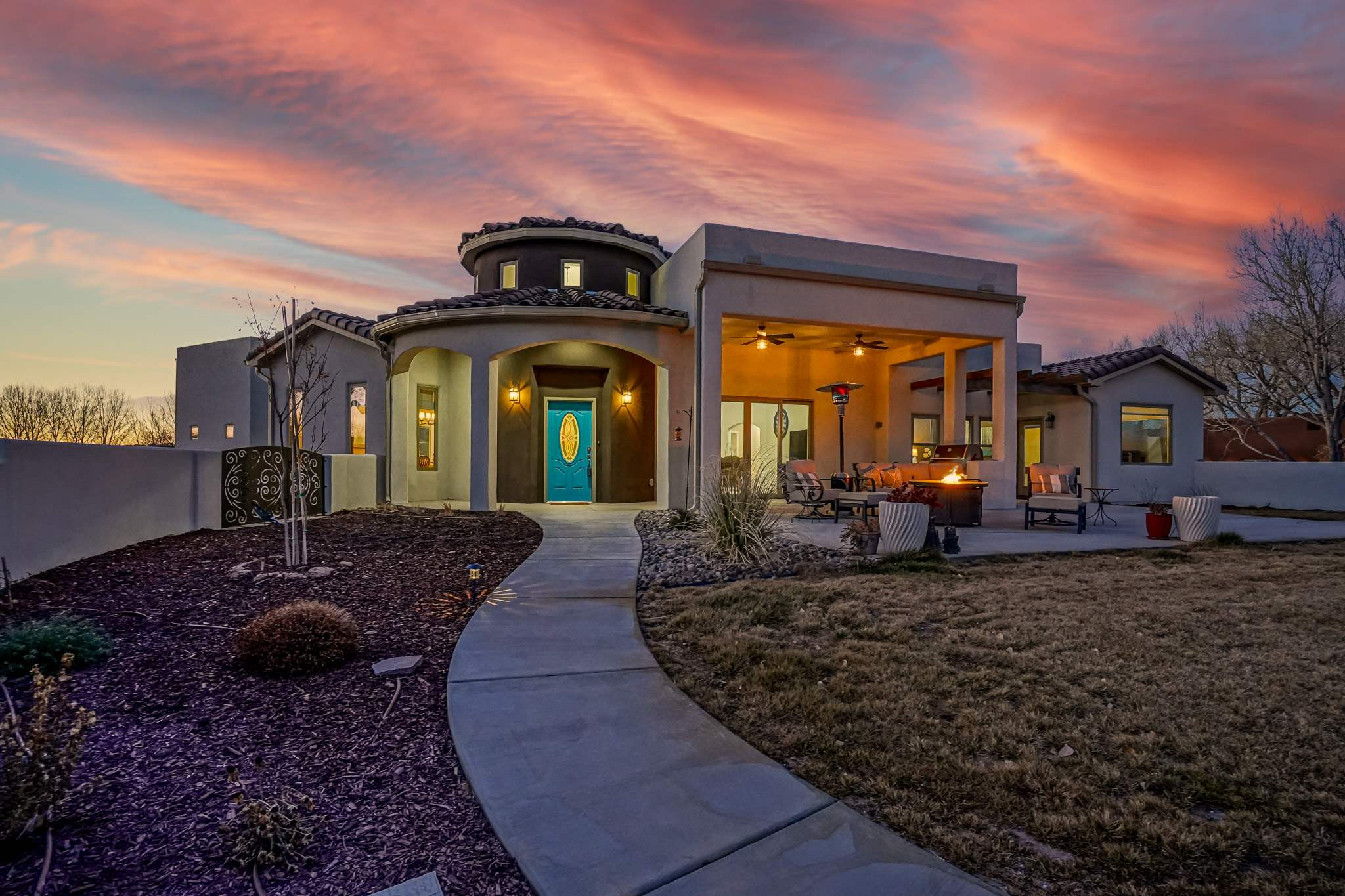 1st Showings Sat & Sun! Welcome Home to the pristine gated Bosque Encantada neighborhood nestled along the Rio Grande River; deeded river access; breathtaking Sandia Mountain views! New in 2020, custom one level open floor plan. Exquisite dream kitchen; induction cooktop, walk-in pantry, beamed ceiling, bake station, reverse osmosis, custom rollouts, all open to dining and great room w/ stone fireplace. Owners suite in separate wing; attached office, luxurious bath, double sinks, soaking tub, snail shower, large walk in/thru closet. 2 more ensuite bedrooms w/ walkins plus hobby room w/ lg closet. 40' RV garage 2200 sf of finished garage space. 6 zone radiant warm floor heat plus 2 combo units, instant hot, tankless water heater, whole house fan, private well & city water. Walking trails.