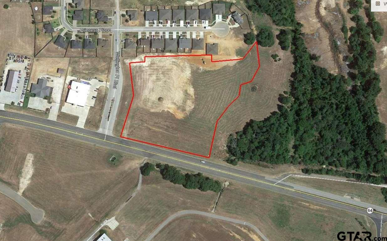 6.69 acres across from Tyler Pounds Airport in front of Wellington Subdivision. Located right of Highway 64, minutes from Loop 49 and Loop 323. Sewer and electric available.