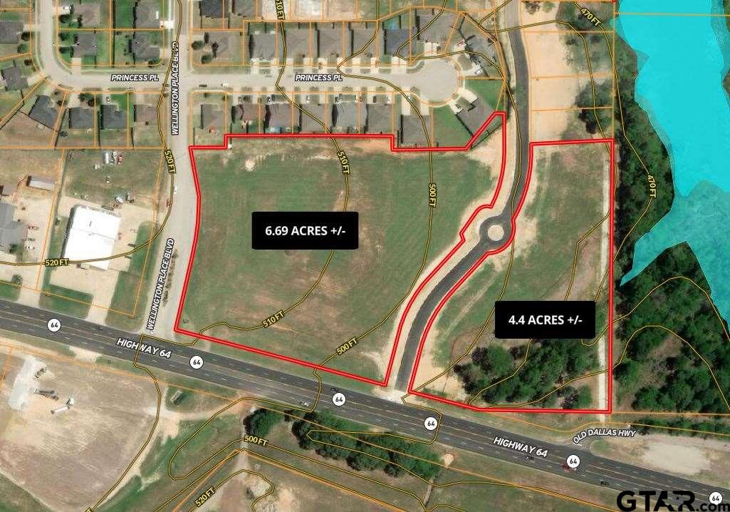 4.44 acres across from Tyler Pounds Airport. Located right of Highway 64, immediately after CR 4134 and before Wellington Place. This property is minutes from Loop 49 and Loop 323. Sewer and electric available.
